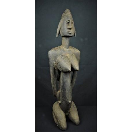 Statue africaine Reine Bambara tenant son enfant