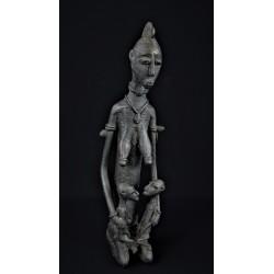 Art tribal Bronze africain Dogon mère et ses jumeaux