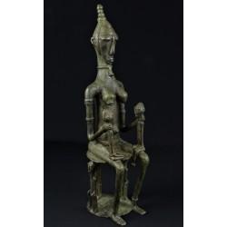 Art africain bronze africain maternité dogon et jumeaux