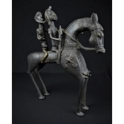 Bronze africain Cheval deux cavaliers Dogon