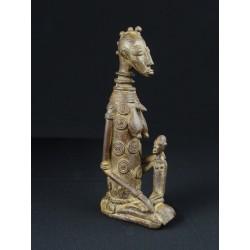 Art tribal Bronze africain Mère dogon et son enfant