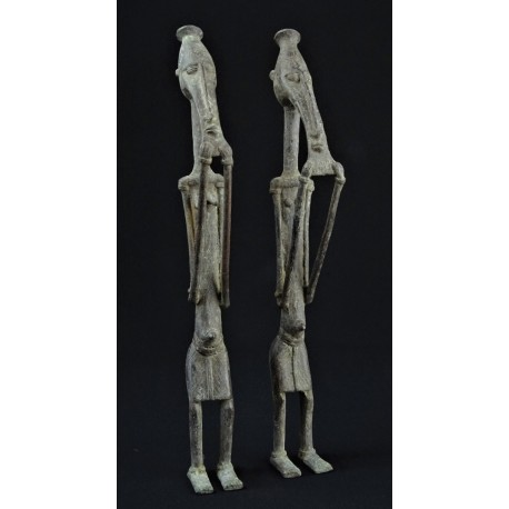 Art tribal Couple primordial Dogon bronze 40cm